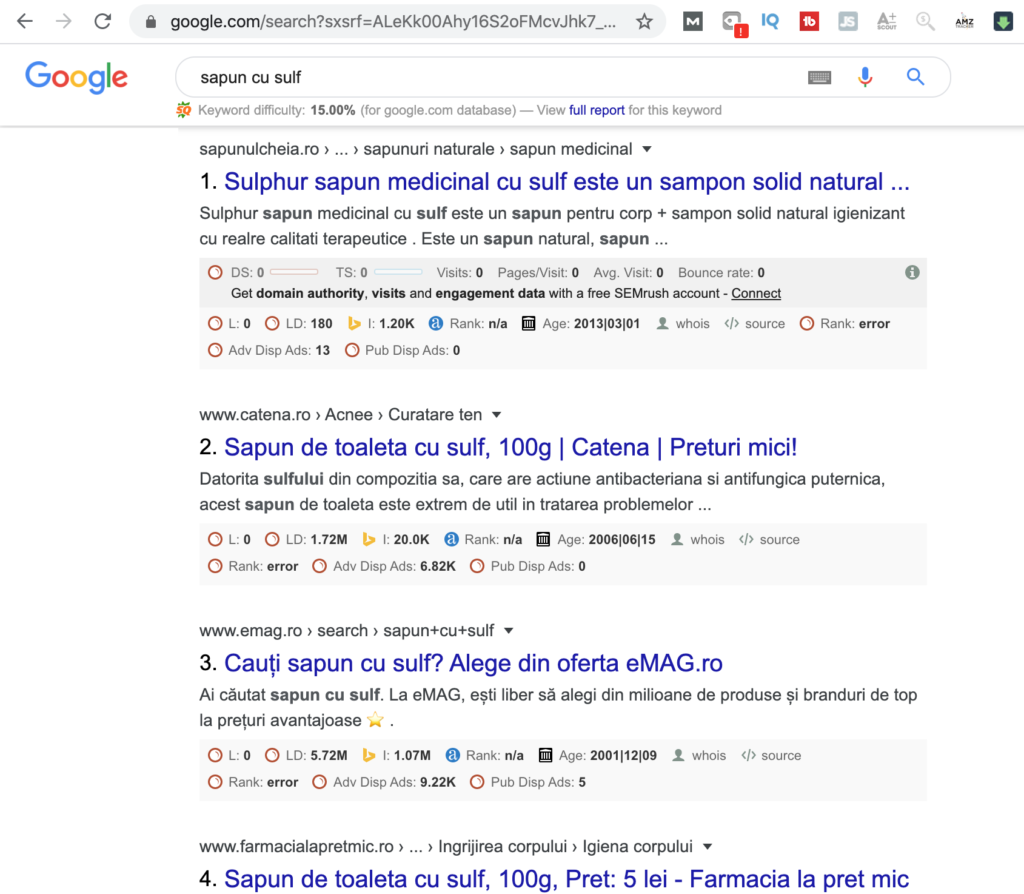 Sapun cu sulf - locul 1 in google