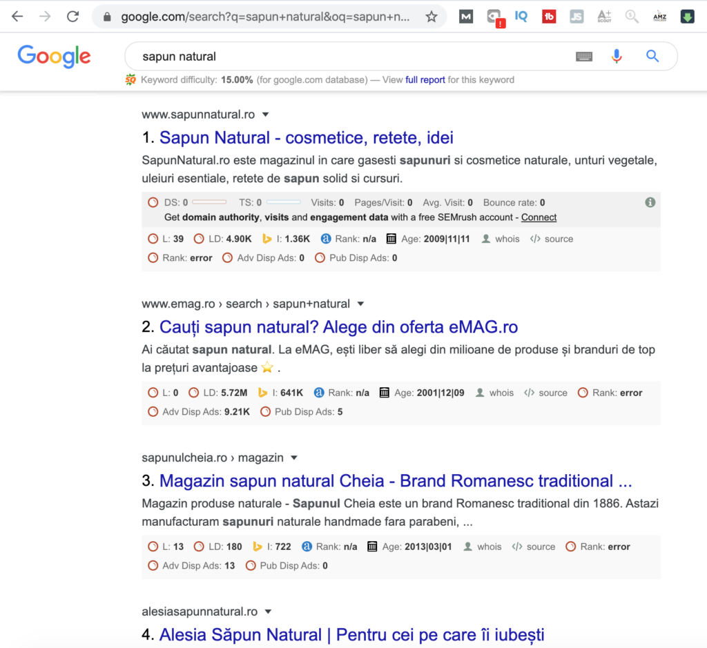 Sapun Natural Cheia - locul 3 in Google